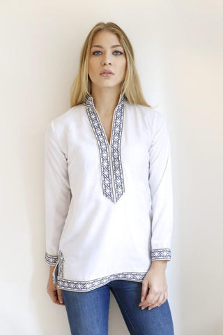 The Sammi Classic Tunic (Navy & Gold Embroidery)