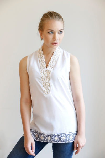 The Shawl Collar Sleeveless Tunic