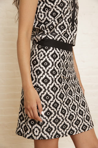 The Rhoda Skirt in Black & White Ikat Embroidery