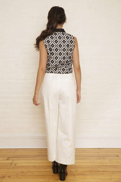 Tabitha Top | Black & White Ikat Embroidery