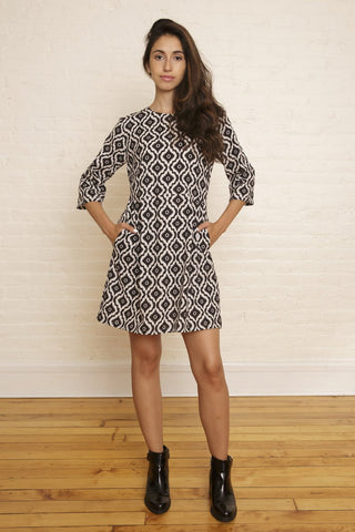 The Katherine Dress in Black & White Ikat Print