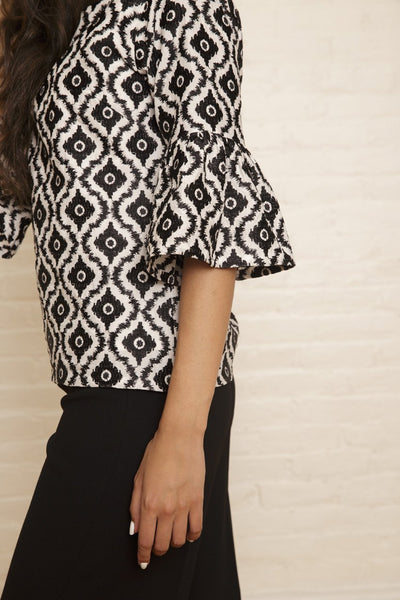 Josephine Top | Black & White Ikat Print