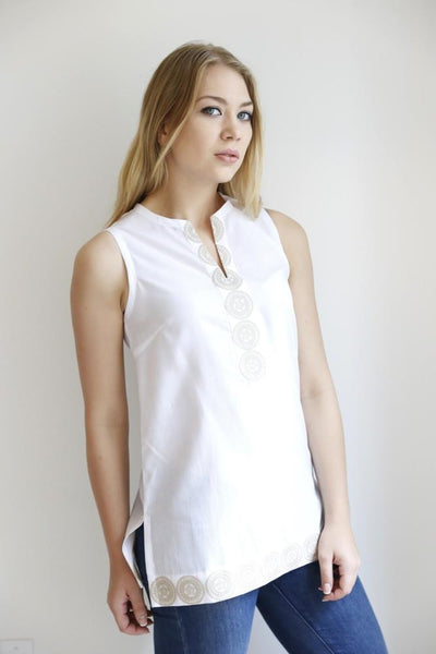The Medallion Split Collar Tunic