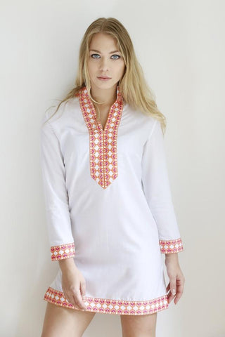 The Giddha Classic Long Tunic Beach Cover-up (Pink & Orange Embroidery)