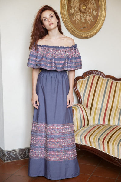 The Maria Off-the-Shoulder Maxi with Tulip Embroidery