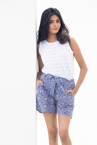 Leyla Top in White Eyelet