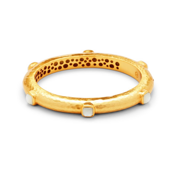 Catalina Hinge Bangle Gold Mother of Pearl