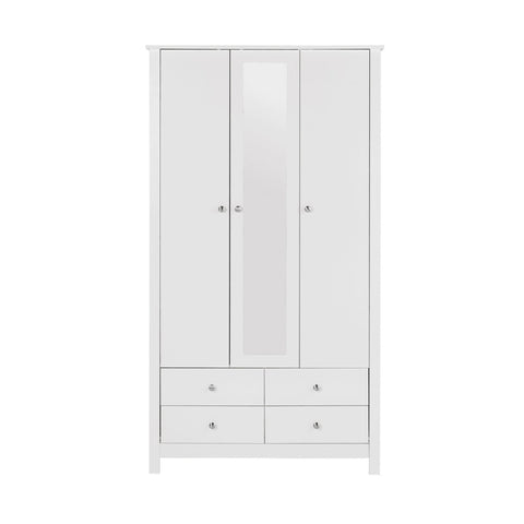 Florence White 3 Door 4 Drawer Wardrobe Mirrored-White Wardrobes-furniture to go-GoFurn Furniture Store Kent