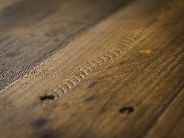 aspen rough sawn nest of tables close up top detail