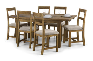Aspen Distressed Extending Dining Set Rough Sawn Solid Pine 4 Chairs-Rough sawn Extending Dining Set 4 chairs-Julian Bowen-GoFurn Furniture Store Kent