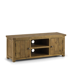 Aspen Distressed Solid Pine Widescreen TV Unit-Distressed Solid Pine Widescreen TV Unit-Julian Bowen-GoFurn Furniture Store Kent