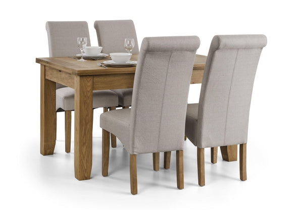 hadlow grey fabric dining chairs set of 4 with astoria dining table