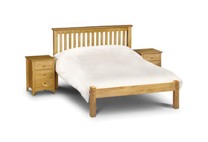 Barcelona Pine Small Double Bed-Barcelona Solid Pine Low Foot End Small Double Bed-julian bowen-GoFurn Furniture Store Kent