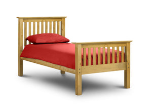 Barcelona solid pine single bed high foot end at GoFurn in Kent