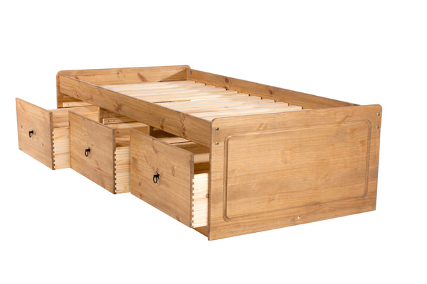 cotswold cabin bed in pine with drawers open