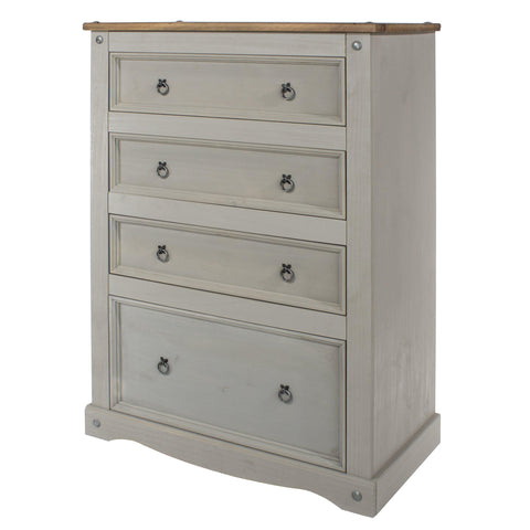 corona grey 4 drawer chest of drawers at gofurn