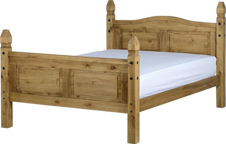 Corona Mexican Pine Small Double Bed-Corona Mexican Pine Small Double Bed-Seconique-GoFurn Furniture Store Kent