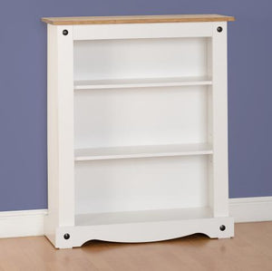 Corona White/Distressed Waxed Pine Low Bookcase