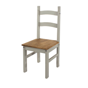 corona grey wash and mexican pine wooden dining chairs