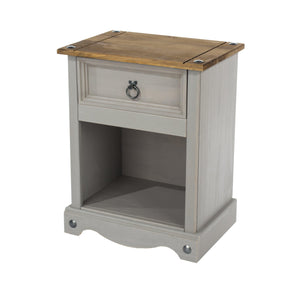 corona grey 1 drawer bedside cabinet