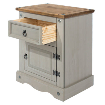 corona grey bedside with drawer open
