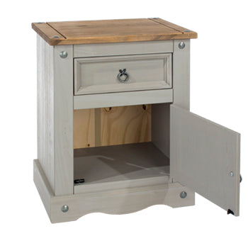 corona grey bedside with door open