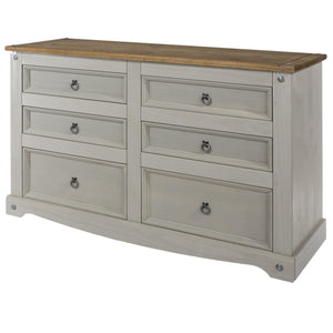 corona grey 3 plus 3 wide chest of drawers by core products at gofurn in kent