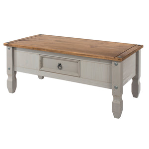 corona grey wash and mexican pine coffee table by core products