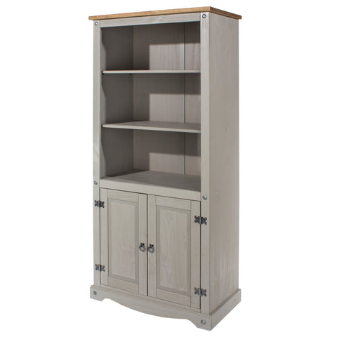corona grey and mexican pine 2 door bookcase at gofurn in kent