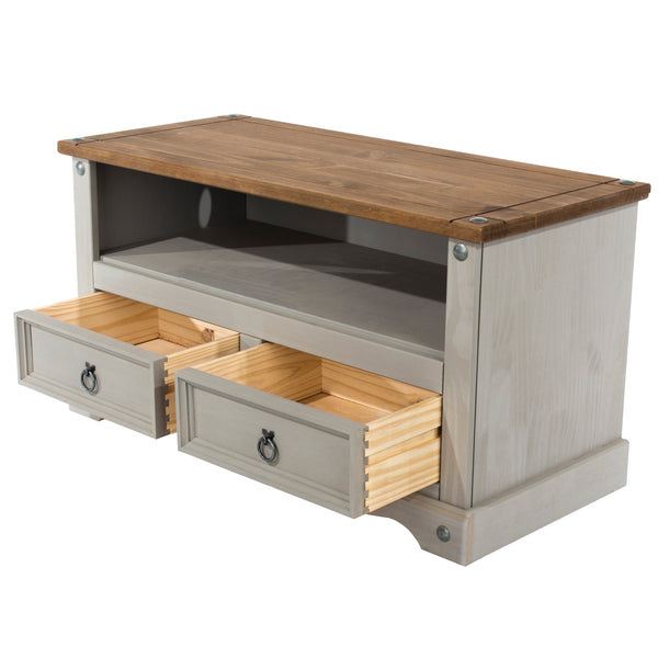 corona grey wash tv unit stand with 2 drawers open