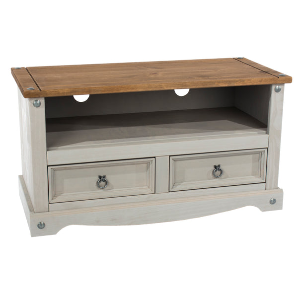 corona grey wash and pine wide screen tv unit stand at go furn in kent