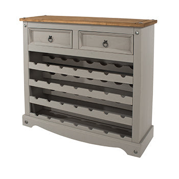 corona grey and mexican pine wine rack sideboard by core products
