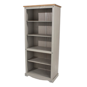 corona grey wash and mexican pine tall bookcase by core products