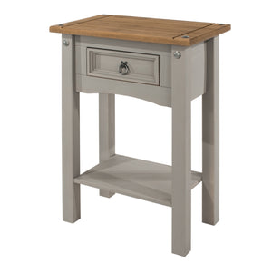 corona grey and mexican pine hall console table with 1 drawer by core products