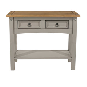 corona grey 2 drawer hall table front view by core products