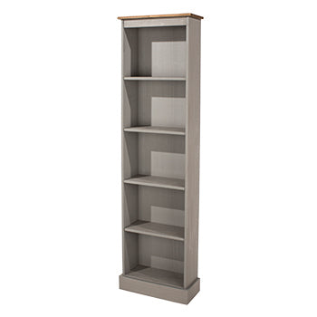 corona grey tall narrow bookcase with mexican pine top by core products