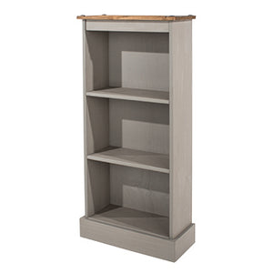 corona grey low narrow bookcase with mexican pine top