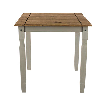 corona grey and mexican pine square dining table pine top view
