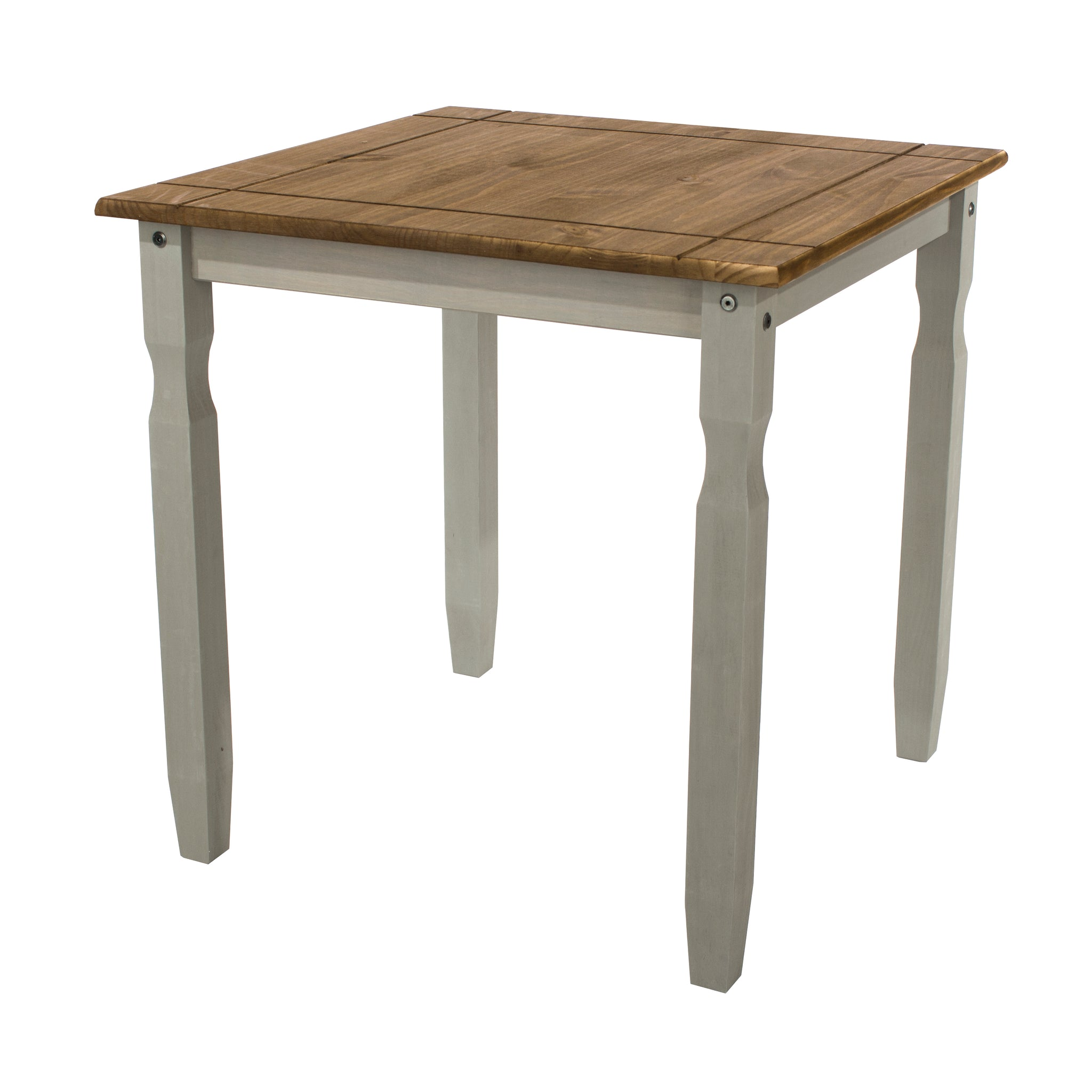 corona grey and mexican pine square dining table by core products