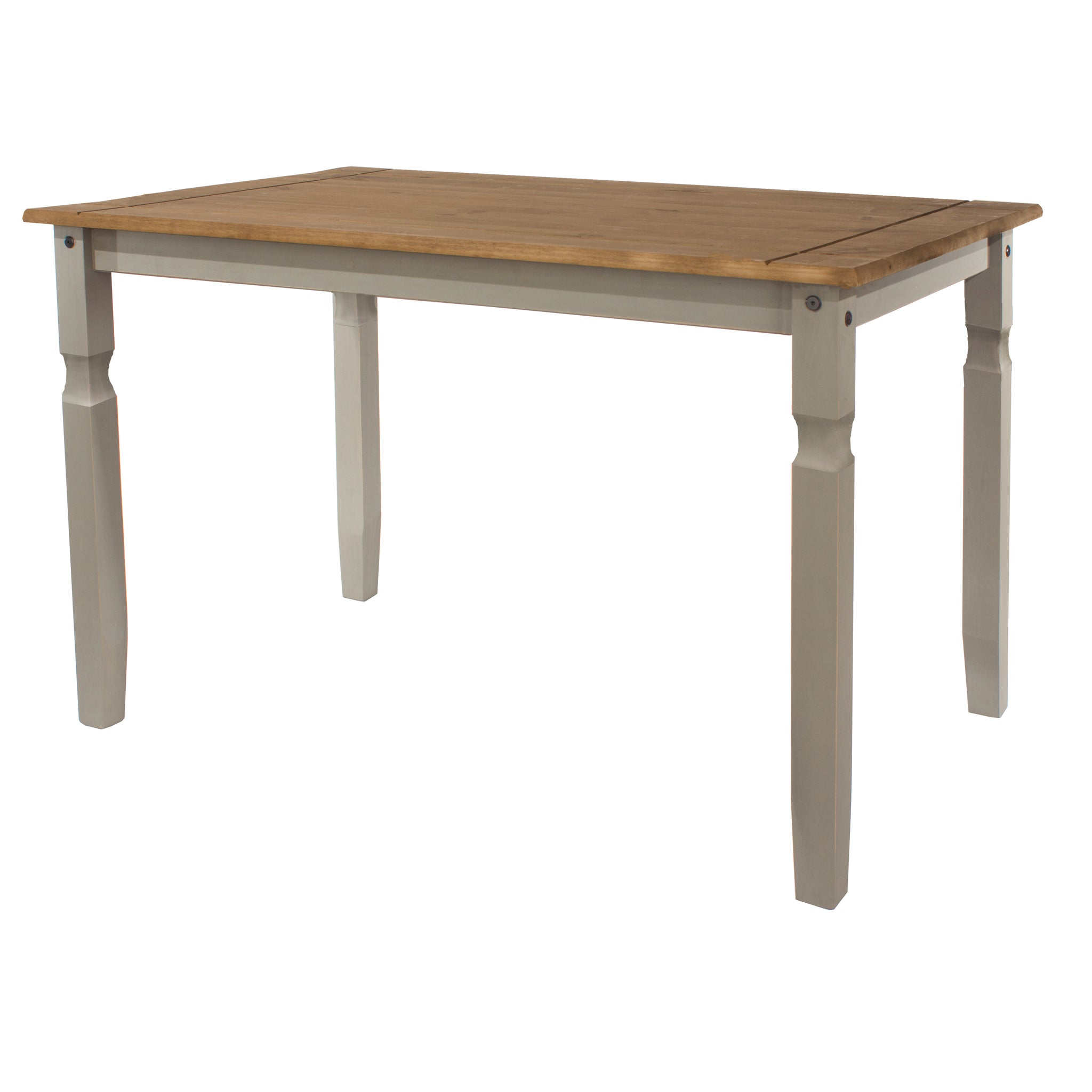 corona grey mexican pine 118cm dining table