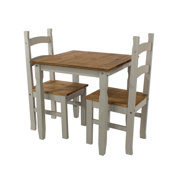 corona grey and mexican pine dining table with 2 corona chairs