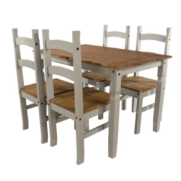 corona grey and mexican pine dining table with 4 corona grey chairs
