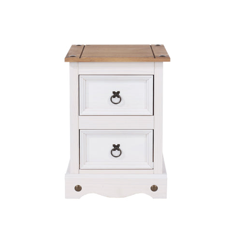 corona white wash petite slim bedside cabinet by core products