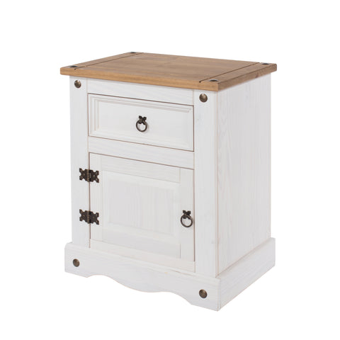 corona white wash 1 door 1 drawer bedside by core products