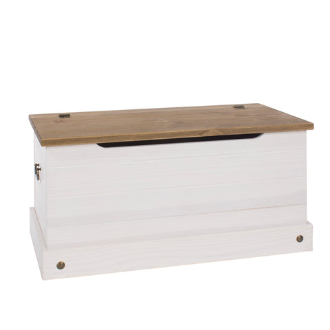 corona white wash and pine blanket box storage chest by core products