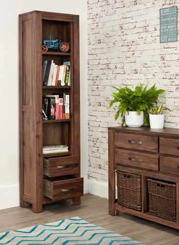 mayan walnut 2 drawer bookcase with books