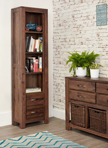 mayan 2 drawer walnut bookcase in room corner