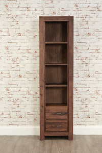 mayan walnut 2 drawer narrow bookcase by baumhas avaiable at gofurn