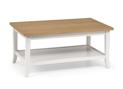 Davenport Coffee Table in Ivory And Oak by Julian Bowen stockists GoFurn