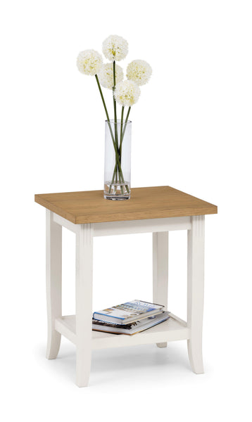 Davenport Lamp Table in Ivory and Light Oak at Julian Bowen stockists GoFurn